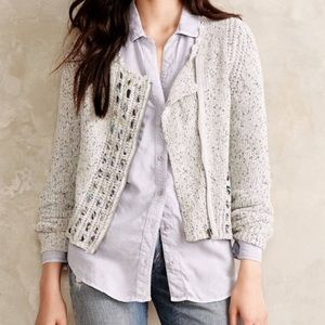 Anthropologie Knitted & Knotted Zip Knit Cardigan